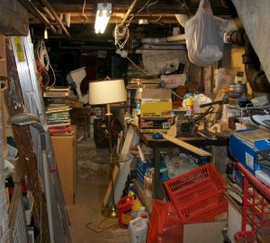 cluttered basement typical of long-held family homes