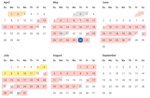 Booking calendar for spring and summer